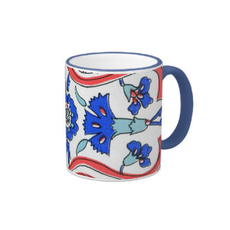 Modelo azul del clavel de la teja turca taza de café