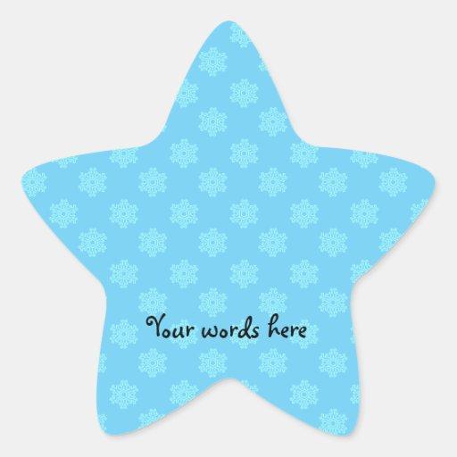 Modelo azul del copo de nieve pegatina en forma de estrella