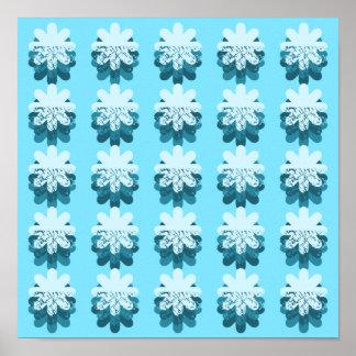 Modelo azul del copo de nieve póster