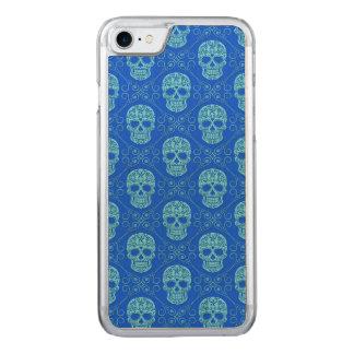 Modelo azul del cráneo del azúcar funda para iPhone 7