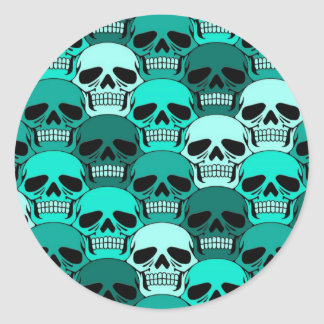 Modelo azul del cráneo del trullo que entrelaza pegatina redonda