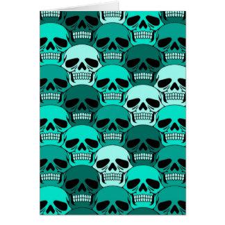 Modelo azul del cráneo del trullo que entrelaza tarjeta de felicitación