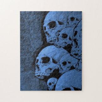 Modelo azul del cráneo puzzle
