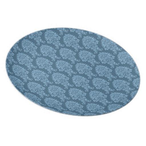 Modelo azul del damasco de Frost Plato Para Fiesta