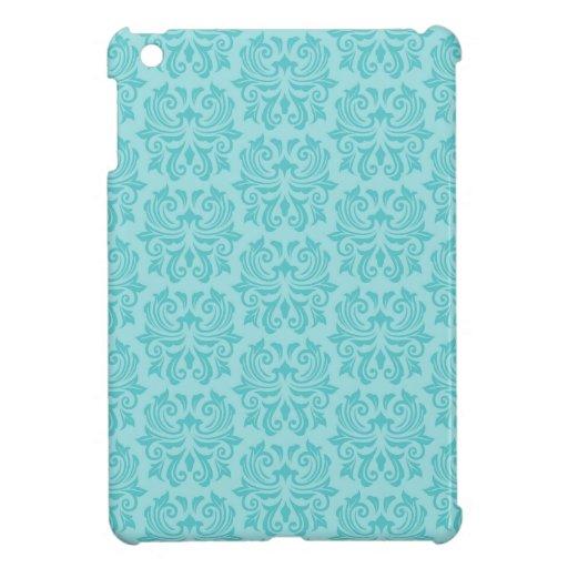 Modelo azul del damasco de la aguamarina adornada  iPad mini coberturas