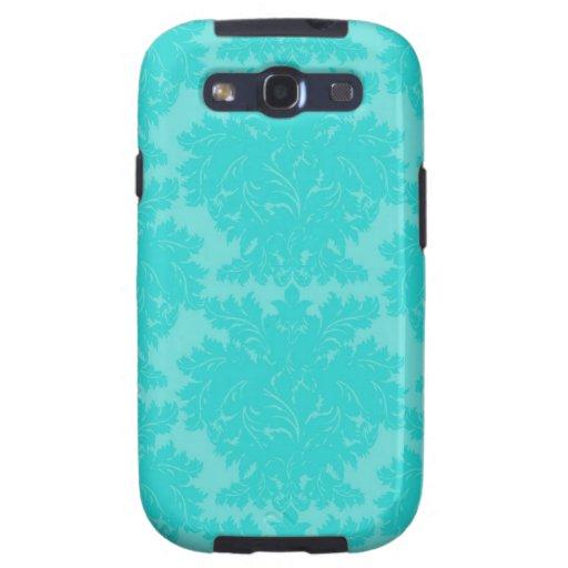 modelo azul del damasco de la aguamarina adornada galaxy SIII coberturas