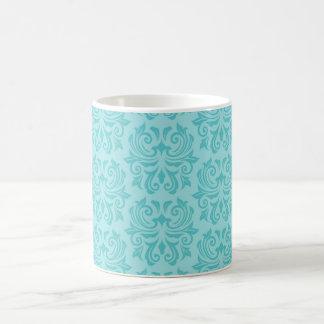 Modelo azul del damasco de la aguamarina adornada  taza básica blanca