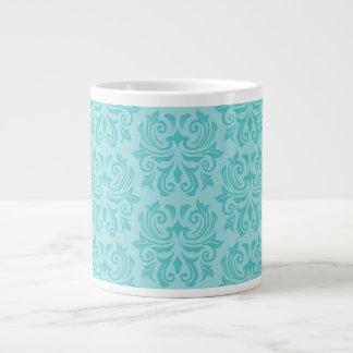 Modelo azul del damasco de la aguamarina adornada  taza grande