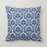 Modelo azul del damasco de la ciudad almohadas