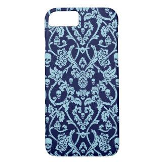 Modelo azul del damasco del cráneo funda iPhone 7