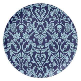 Modelo azul del damasco del cráneo plato de cena