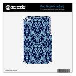 Modelo azul del damasco del cráneo iPod touch 4G skin