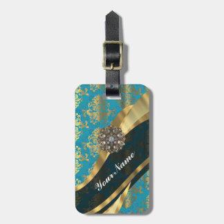 Modelo azul del damasco del vintage del trullo de etiquetas de maletas