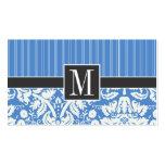 Modelo azul del damasco tarjetas de visita