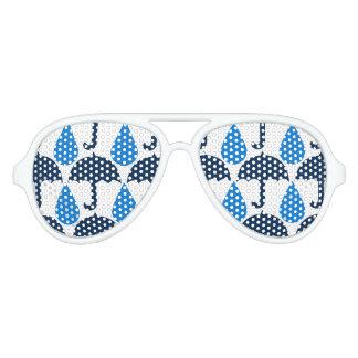 Modelo azul del día lluvioso de las gotas de agua gafas de fiesta