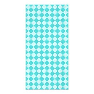 Modelo azul del diamante de la combinación tarjetas con fotos personalizadas