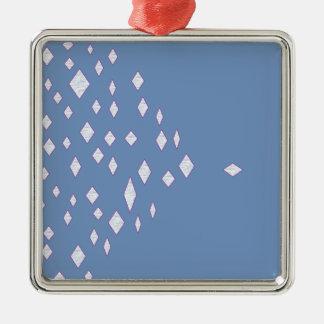 modelo azul del diamante de la diversión adorno cuadrado plateado