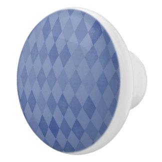 Modelo azul del diamante pomo de cerámica