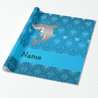 Modelo azul del enrejado del muñeco de nieve del papel de regalo