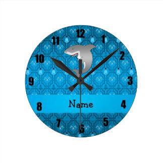 Modelo azul del enrejado del muñeco de nieve del reloj redondo mediano