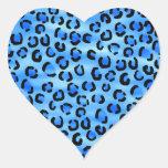 Modelo azul del estampado leopardo calcomanías corazones