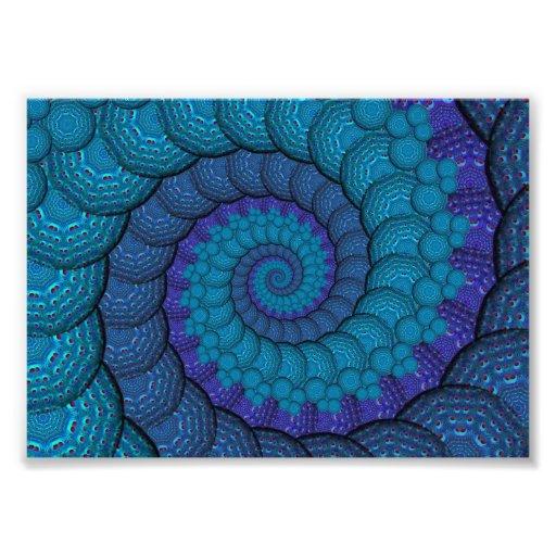 Modelo azul del fractal del pavo real fotografía