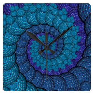 Modelo azul del fractal del pavo real reloj cuadrado