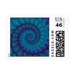 Modelo azul del fractal del pavo real sellos