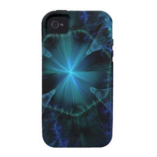 Modelo azul del fractal Case-Mate iPhone 4 carcasas