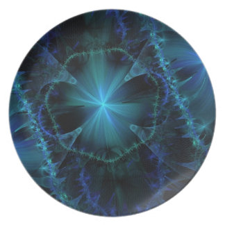 Modelo azul del fractal platos para fiestas