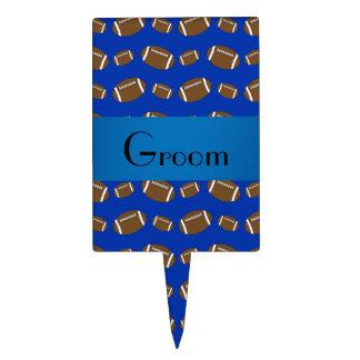 Modelo azul del fútbol de los regalos del novio palillos de tarta