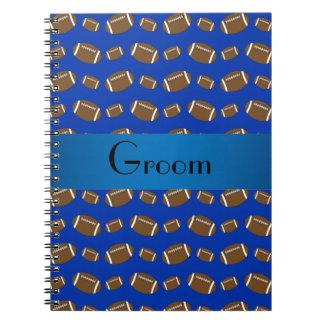 Modelo azul del fútbol de los regalos del novio libros de apuntes