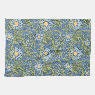 Modelo azul del girasol toallas de mano