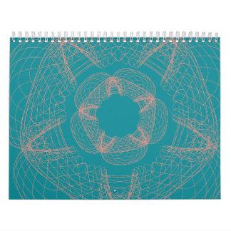 modelo azul del guilloquis del melocotón calendarios
