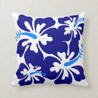 Modelo azul del hibisco almohadas