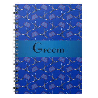 Modelo azul del hockey de los regalos del novio cuadernos
