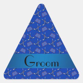 Modelo azul del hockey de los regalos del novio calcomanías triangulos
