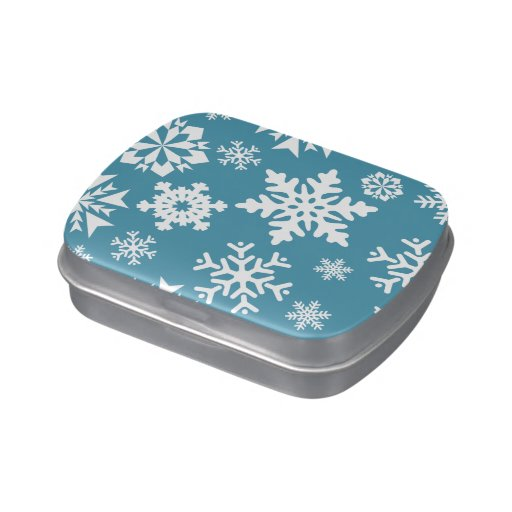 Modelo azul del invierno del día de fiesta del nav latas de dulces