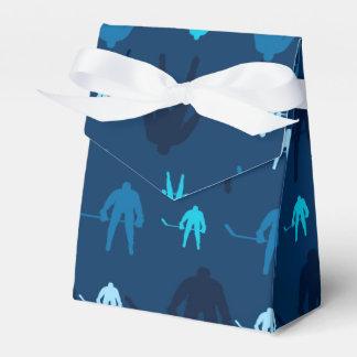 Modelo azul del jugador del hockey sobre hielo cajas para detalles de boda