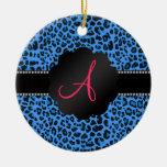 Modelo azul del leopardo del monograma ornamentos para reyes magos