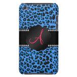 Modelo azul del leopardo del monograma barely there iPod cobertura