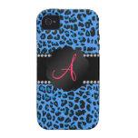 Modelo azul del leopardo del monograma vibe iPhone 4 carcasas