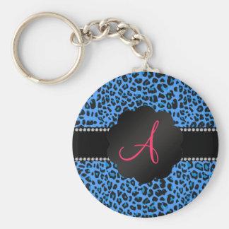 Modelo azul del leopardo del monograma llavero personalizado