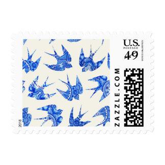 Modelo azul del pájaro del trago de la acuarela