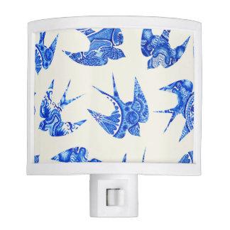 Modelo azul del pájaro del trago de la acuarela luz de noche