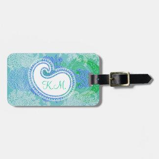 Modelo azul del paño de la flor del árbol de Paisl Etiquetas Maleta
