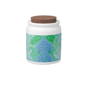Modelo azul del paño de la flor del árbol de Paisl Jarra Para Caramelo