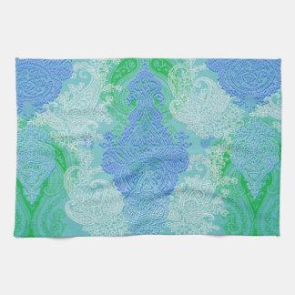 Modelo azul del paño de la flor del árbol de Paisl Toallas De Mano