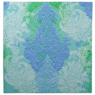 Modelo azul del paño de la flor del árbol de Paisl Servilletas De Papel