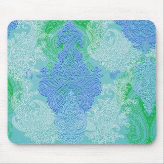 Modelo azul del paño de la flor del árbol de Paisl Alfombrilla De Ratones